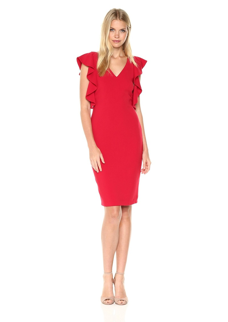 Laundry by Shelli Segal Women s Ruffle Cold Shoulder Sleeve Cocktail Dress  Tango red d82deb35a8