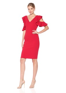 LAUNDRY BY SHELLI SEGAL Women's Ruffle Cold Shoulder Sleeve Cocktail Dress Tango red