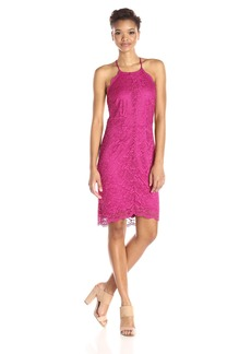 laundry BY SHELLI SEGAL Women's Scalloped Lace Hem Detail Cocktail Dress