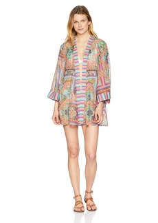 Laundry by Shelli Segal Women's Scarf Medallion Side Slit Kimono Cover up
