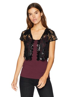 LAUNDRY BY SHELLI SEGAL Women's Sequin Cap Sleeve Lace Vest Accessory black S/M