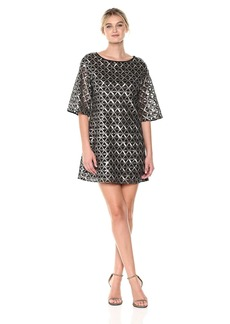 Laundry by Shelli Segal Women's Sequin Mesh Diamond Grid Shift Cocktail Dress   SP