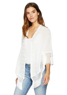 LAUNDRY BY SHELLI SEGAL Women's Sheer Kimono with Lace