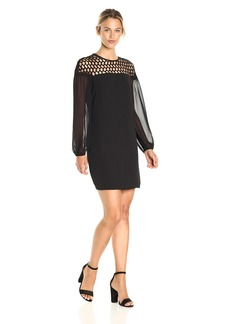 Laundry by Shelli Segal Women's Sheer Sleeve Cocktail Dress