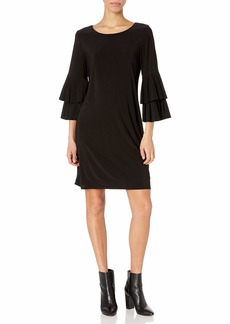 LAUNDRY BY SHELLI SEGAL Women's Shift Dress with Knife Pleat Sleeves  M