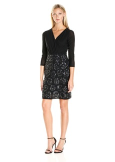 Laundry by Shelli Segal Women's Shirred Bodice with Fitted Embelished Skirt