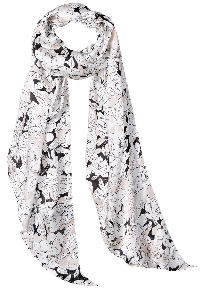 LAUNDRY BY SHELLI SEGAL Women's Sketched Floral Oblong Scarf rose shadow