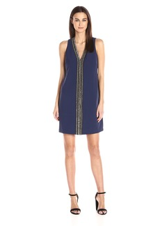 laundry BY SHELLI SEGAL Women's Sleeveless Beaded V Neck Dress