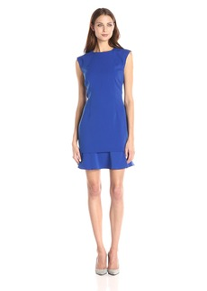 laundry BY SHELLI SEGAL Women's Sleeveless Crepe Dress with A Flounce