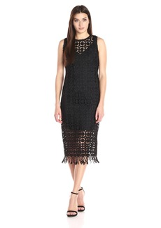 Laundry by Shelli Segal Women's Sleeveless Lace Dress with Fringe Hem