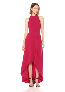Laundry by Shelli Segal Women's Sleeveless Mock Neck Strappy Back Gown With Hi-Low Hem