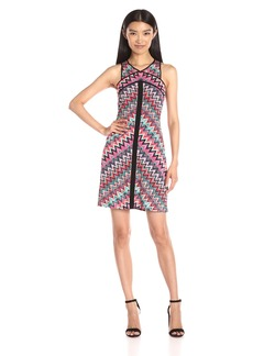 laundry BY SHELLI SEGAL Women's Sleeveless Printed Dress with Contrast