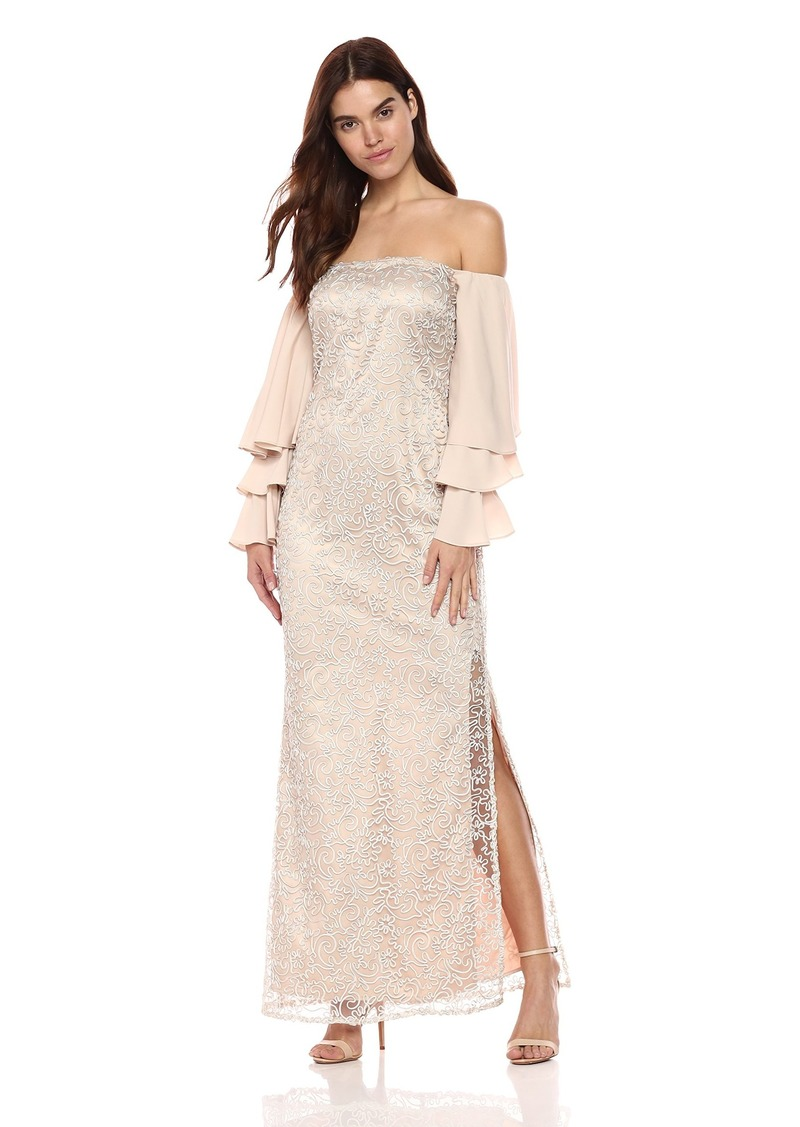 Laundry by Shelli Segal Women's Soutache Gown with Tiered Ruffle Sleeves