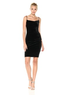 laundry BY SHELLI SEGAL Women's Stretch Velvet Shirred Cocktail Dress