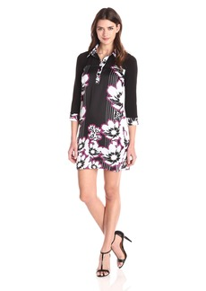 laundry BY SHELLI SEGAL Women's Stripe Floral Placement Panel' Silky Twill Shirt Dress