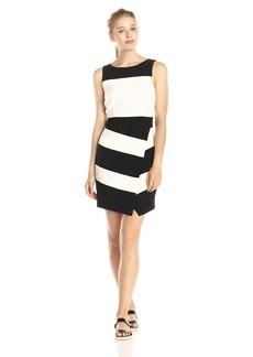laundry BY SHELLI SEGAL Women's Textures Crepe Stripe Faux Wrap Sleeveless Dress Black/Multi