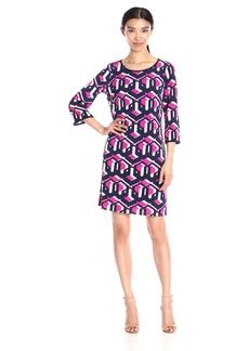 Laundry by Shelli Segal Women's Three-Quarter Sleeve Printed Matte Jersey Dress