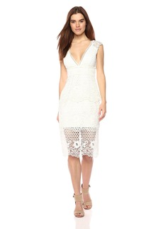 Laundry by Shelli Segal Women's V-Neck Venise Dress with Trim Detail