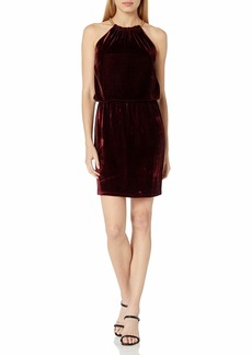 LAUNDRY BY SHELLI SEGAL Women's Velvet Blouson Chain Necklace Dress