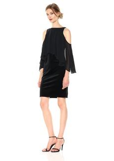 Laundry by Shelli Segal Women's Velvet Midi Dress with Chiffon Popover
