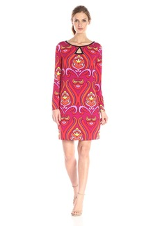 laundry BY SHELLI SEGAL Women's Wall Flower Matte Jersey Long-Sleeve Keyhole Dress