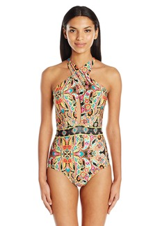 Laundry by Shelli Segal Women's Wild Paisley Twist Halter One Piece Swimsuit  M