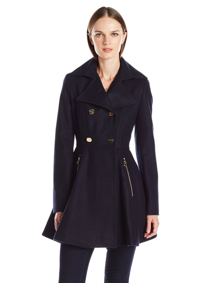 Laundry by Shelli Segal Women's Wool Double Breasted Fit and Flare Bottom Coat
