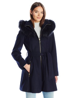 Laundry By Shelli Segal Women's Wool-Fit and Flare Wool W/ Faux Fur Trimmed Hood