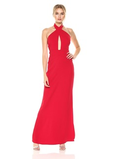 Laundry by Shelli Segal Women's Wrap Neck Halter Gown with Cutouts Tango red