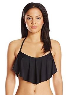 Laundry by Shelli Segal Women's Zahara Beaded Flounce Bikini Top