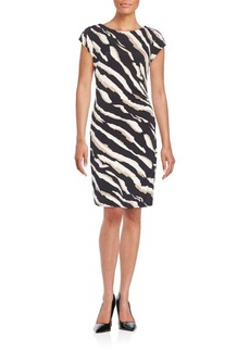 Laundry by Shelli Segal Zebra Print Ruched Dress