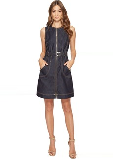 Laundry by Shelli Segal Zip Front Denim A-Line Dress