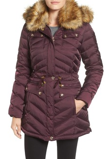 Laundry by ShelliSegalBelted Down & Feather FillUtility Parka with FauxFur Trim
