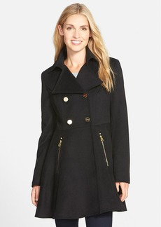 Laundry by Shelli Segal Double Breasted Fit & Flare Coat (Regular & Petite)