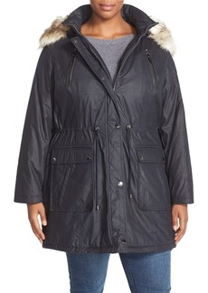 Laundry by Shelli Segal Faux Fur Trim Parka (Plus Size)