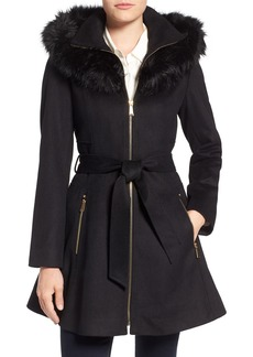 Laundry by Shelly Segal Faux Fur Trim Wool Blend Fit & Flare Coat