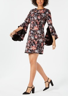 Laundry by Shelli Segal Reversible Floral Angel-Sleeve Sheath Dress
