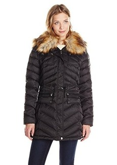 Laundry Women's Anorak Down Coat with Faux Fur Hood