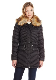 Laundry Women's Anorak Down Coat with Faux Fur Hood