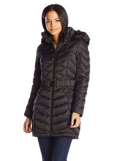Laundry Women's Belted Down Coat with Faux Fur Hood