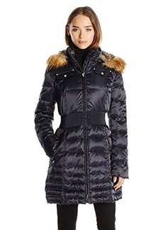 Laundry Women's Classic Cinch Waist Down Coat with Faux Fur Hood