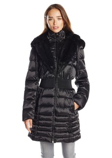 Laundry Women's Down Coat with Cinch Waist and Faur Fur Trim