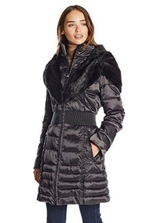Laundry Women's Down Coat with Cinch Waist and Faur Fur Trim  X-Small