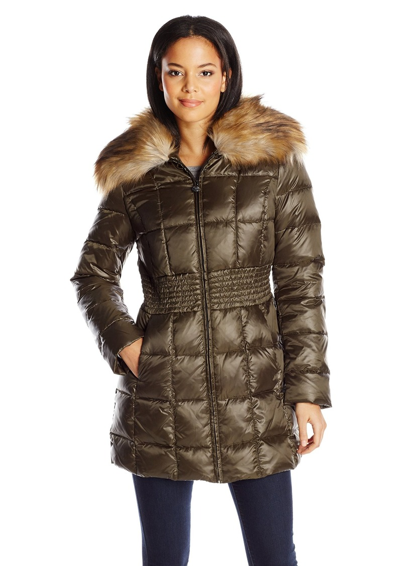 Laundry by Shelli Segal Laundry Women's Mid Length Metallic Down Coat