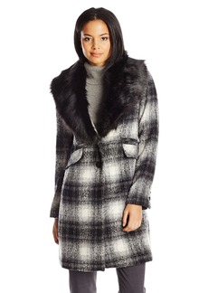 Laundry Women's Plaid Wool Coat with Removable Faux Fur Collar