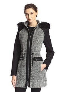 Laundry Women's Tweed Wool Coat with Hood  mall