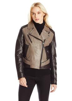 Laundry Women's Two Tone Leather Moto Jacket