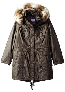 Laundry Women's Waxed Cotton Parka with Faux Fur Hood