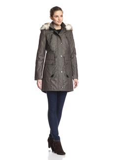 Laundry by Shelli Segal Laundry Women's Waxed Cotton Parka with Faux-Fur Hood