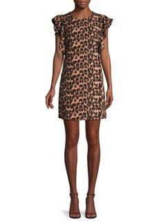 Laundry by Shelli Segal Leopard-Print Ruffled Mini Dress
